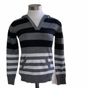 Poof! Hoodie Sweater Striped Long Sleeve Pockets